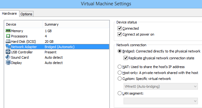 Virtual Mechine Settings